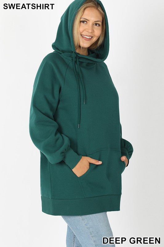 Boyfriend Hoodie - Dark Green - Kasey Leigh Boutique