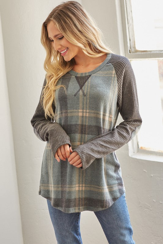 Winter Plaid Raglan Top - Kasey Leigh Boutique