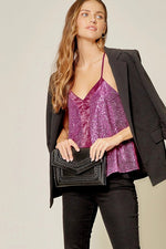 Sequin & Satin Cami in Magenta - Kasey Leigh Boutique
