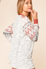 Two Tone Raglan with Aztec Contrast - Kasey Leigh Boutique