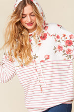 Ivory Floral and Mauve Stripe Hoodie