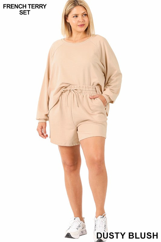 Raglan French Terry Pullover & Shorts Set - Lt Blush Lounge Wear - Kasey Leigh Boutique