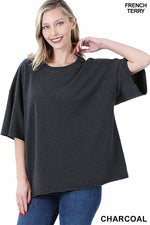 French Terry Raw Edge Pullover - Charcoal Tops/Tunics - Kasey Leigh Boutique
