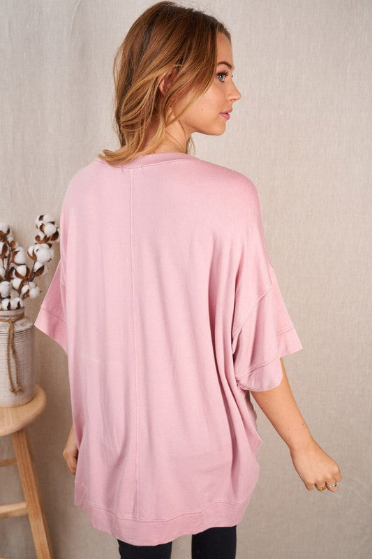 Ellie Tunic in Washed Blush Tops/Tunics - Kasey Leigh Boutique