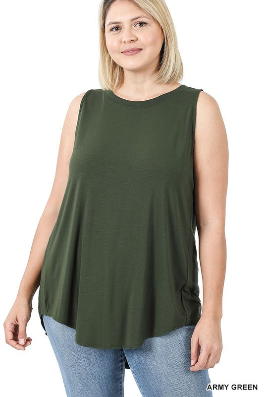 High Neck Tank Tunic - Army Green