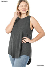 High Neck Tank Tunic - Charcoal