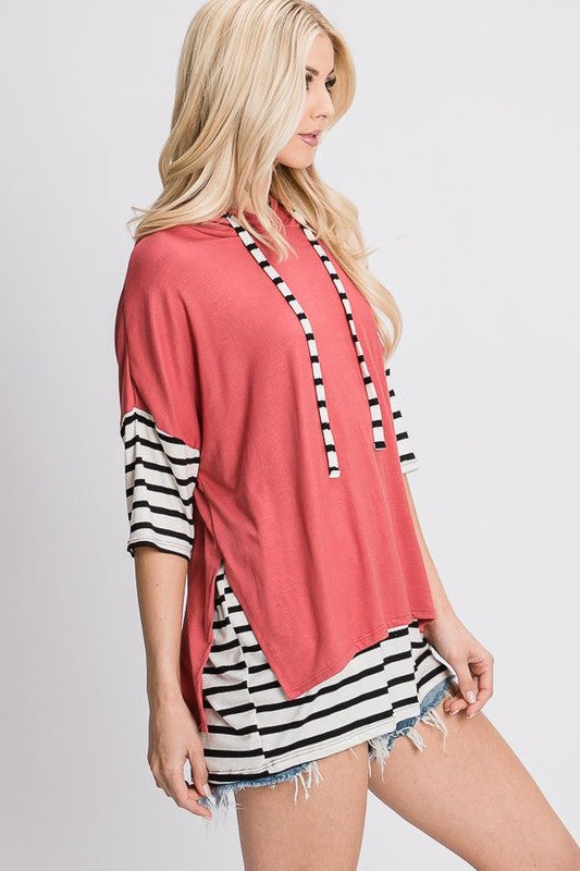 Ellie's Layered Hoodie - Short Sleeve Tops/Tunics - Kasey Leigh Boutique