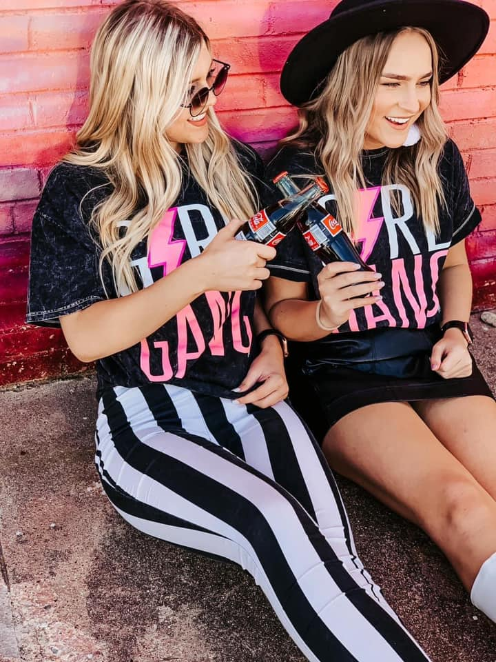 Girl Gang Black Mineral Wash Tees Tops/Tunics - Kasey Leigh Boutique