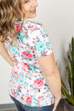 The Olivia in Ivory Floral Tops/Tunics - Kasey Leigh Boutique