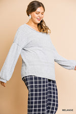 Umgee Light Grey Puff Sleeve Sweater