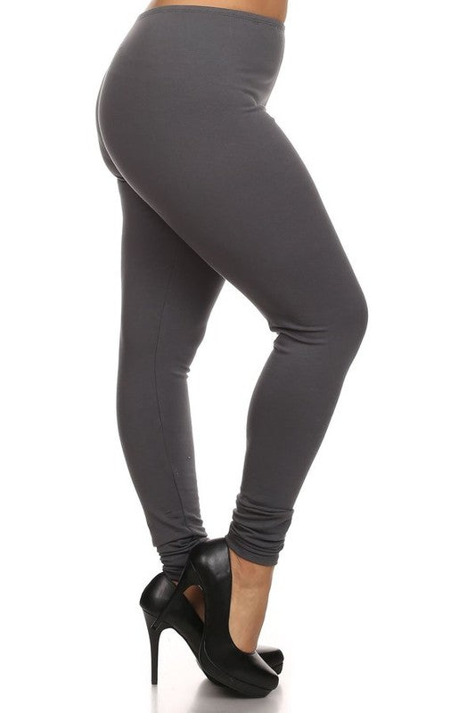 Elastic Waist Essential Charcoal Leggings in Curvy Sizes