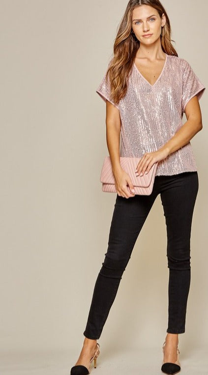 Rose Gold Sequin Dolman - Kasey Leigh Boutique