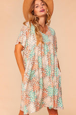 Patchwork Floral Short Sleeve Babydoll Dress Dresses - Kasey Leigh Boutique