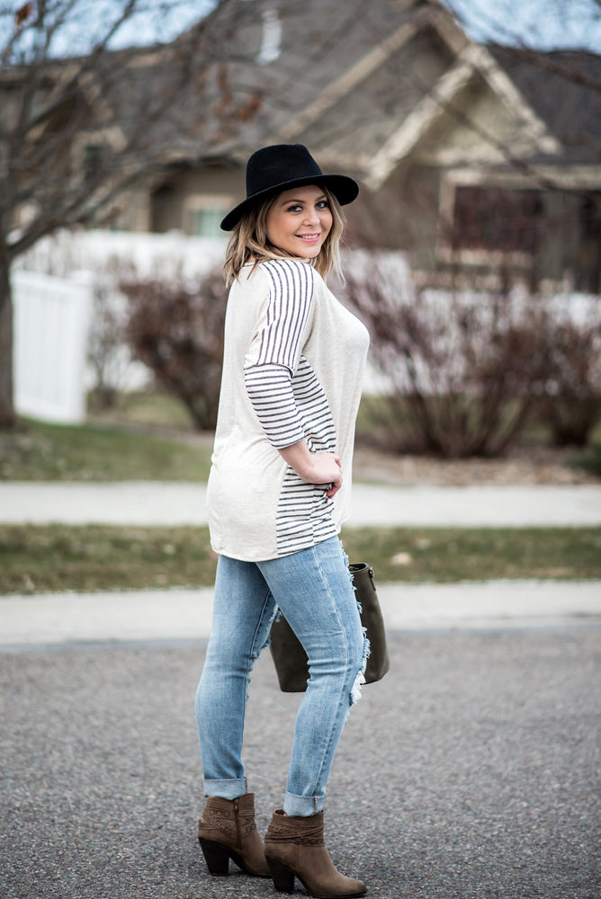 It's Total Love Gray Striped Boyfriend Top - Kasey Leigh Boutique