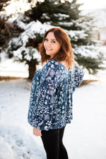 Blue Is Your Color Peasant Top - Kasey Leigh Boutique