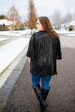 Rise To The Occasion Black Sequined Cardigan - Kasey Leigh Boutique
