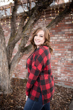 Plaid Tidings Lace Up Top - Kasey Leigh Boutique