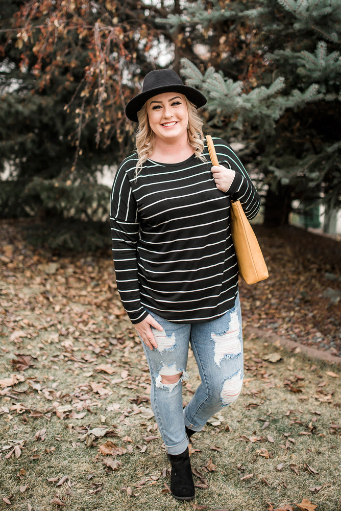 Seize The Moment Black Lace Striped Top - Kasey Leigh Boutique