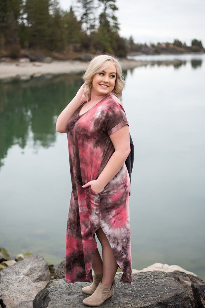 Strike Our Fancy Maxi Dress In Dragon Fruit Colors - Kasey Leigh Boutique