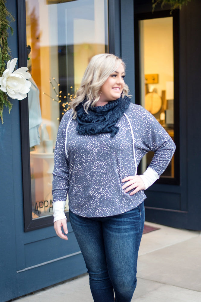 All Tied Up In You Soft Infinity Scarf In Navy - Kasey Leigh Boutique