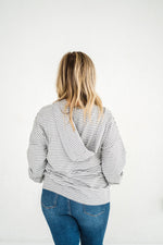 Plaid About You Hoodie In Gray Stripes - Kasey Leigh Boutique