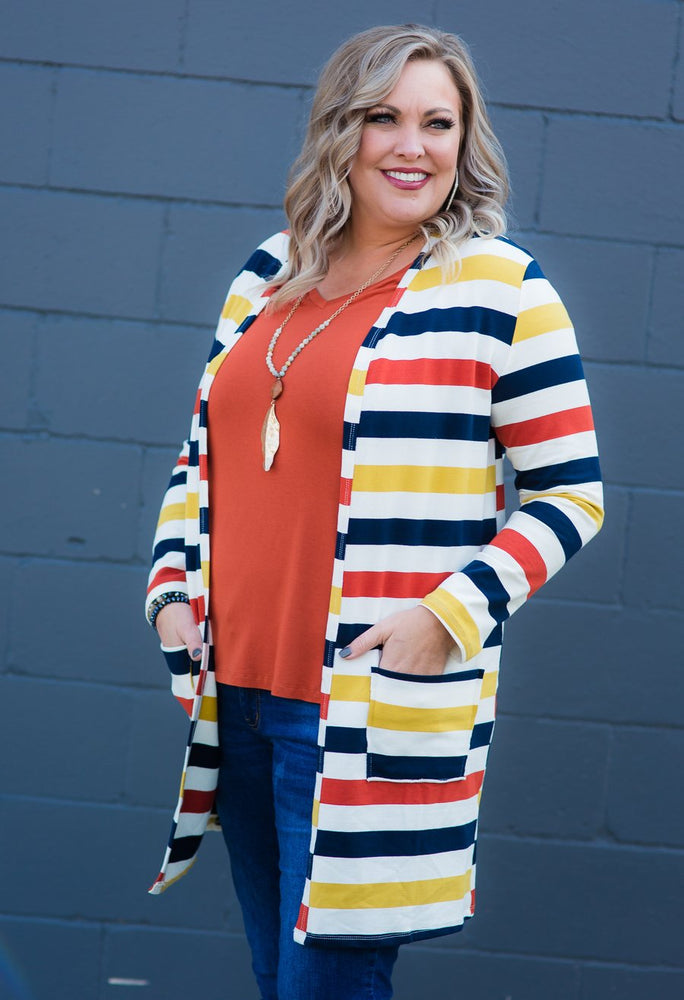 My Favorite Cardigan - Mustard Multi Stripe
