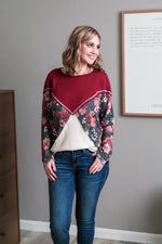 Always Have An Angle Burgundy Floral Top Tops/Tunics - Kasey Leigh Boutique
