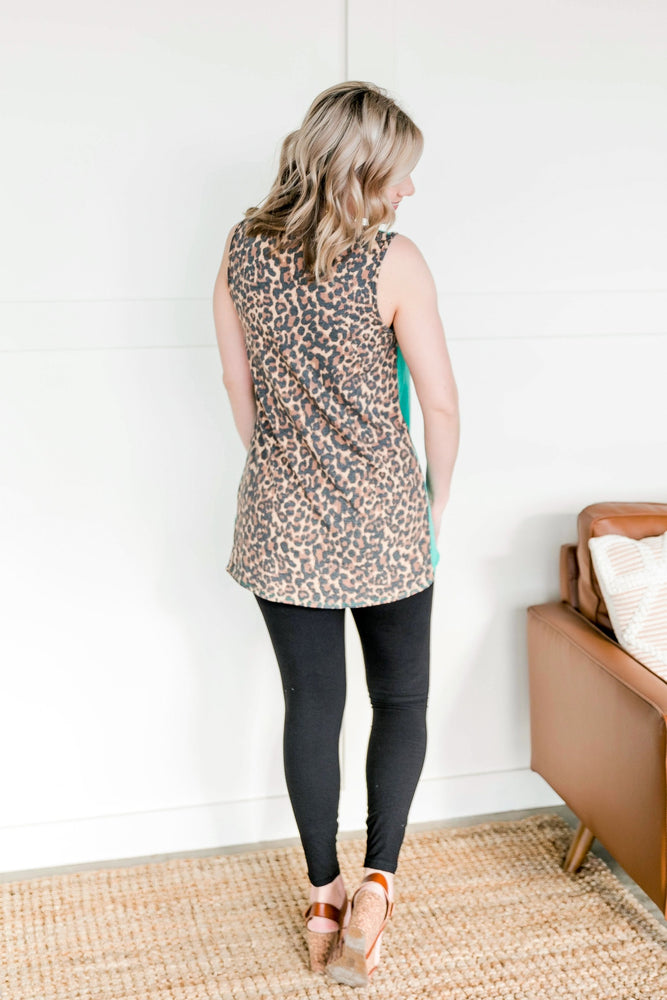 Leopard In Jade Sleeveless Top Tops/Tunics - Kasey Leigh Boutique