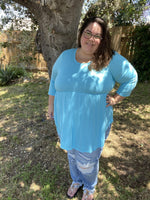 Blue Beauty Babydoll Top-Tops/Tunics-Kasey Leigh Boutique
