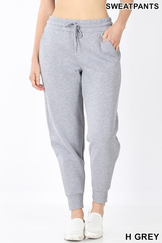Classic Sweatpants- Heather Grey-Bottoms-Kasey Leigh Boutique