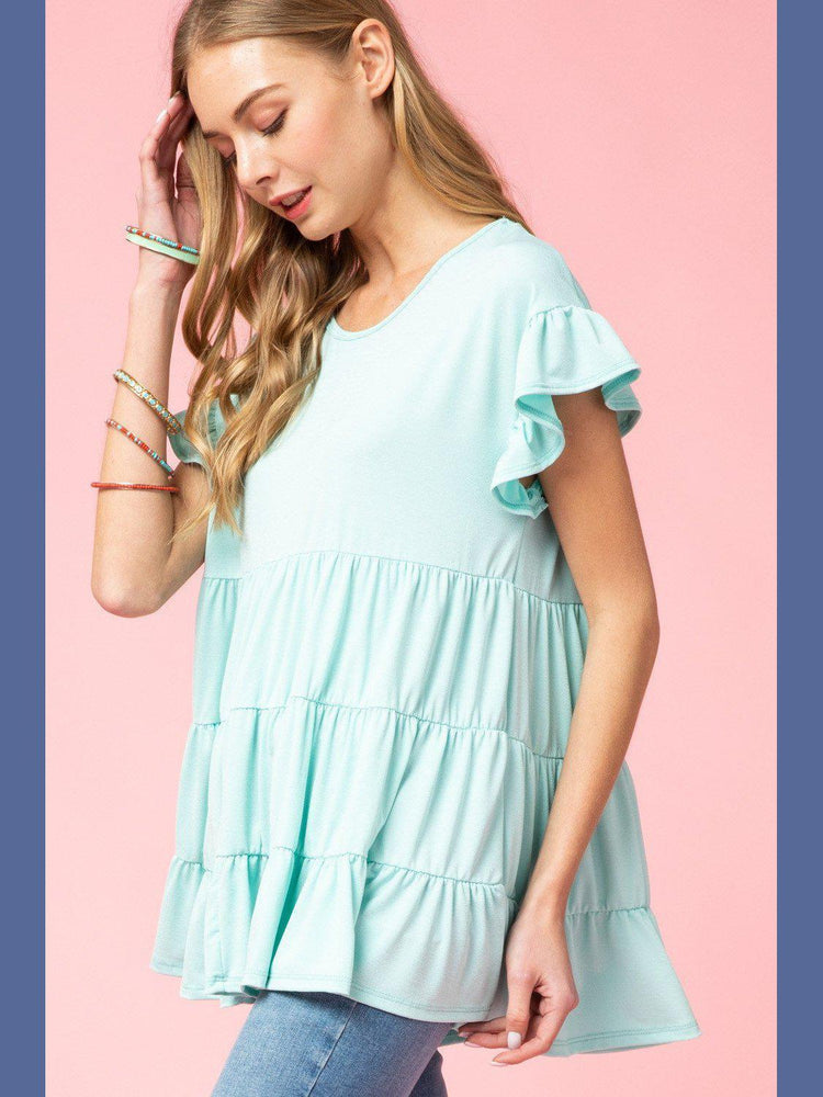 Cool Mint Tiered Tunic-Tops/Tunics-Kasey Leigh Boutique