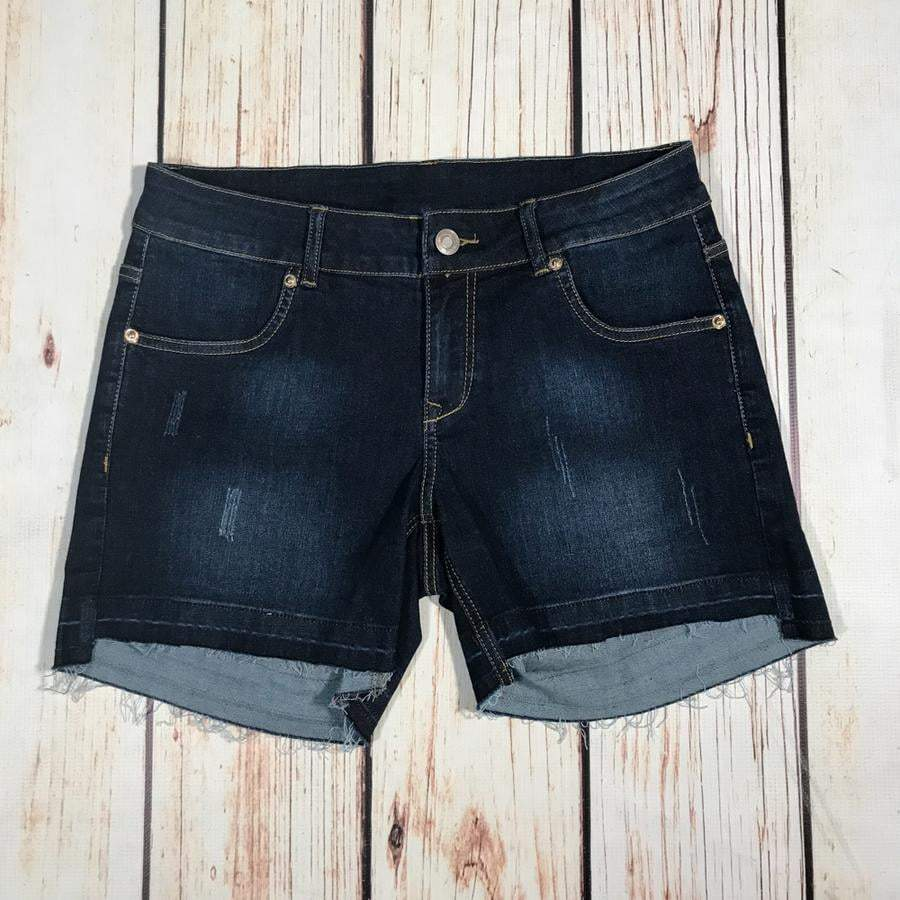 Dark Ocean Released Hem Shorts Bottoms - Kasey Leigh Boutique