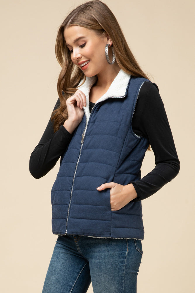 Reversible Navy Vest - Kasey Leigh Boutique