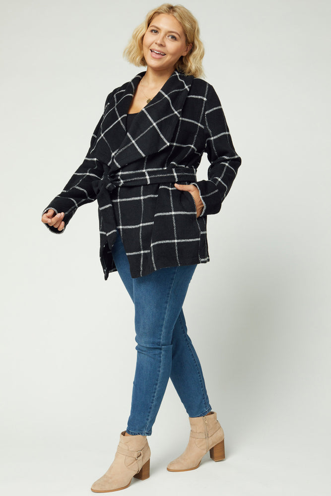 Shawl Collar Self Tie Jacket - Curvy - Kasey Leigh Boutique