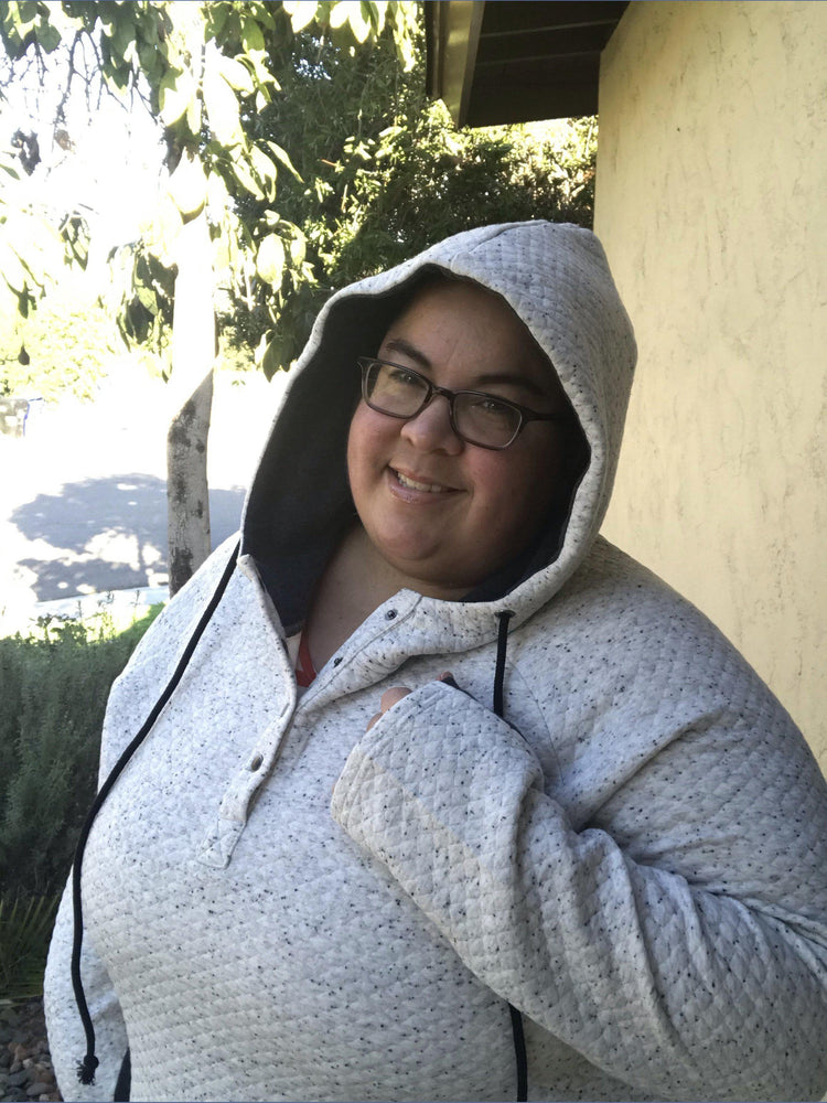 Ivory Quilted Half Snap Hoodie - Kasey Leigh Boutique