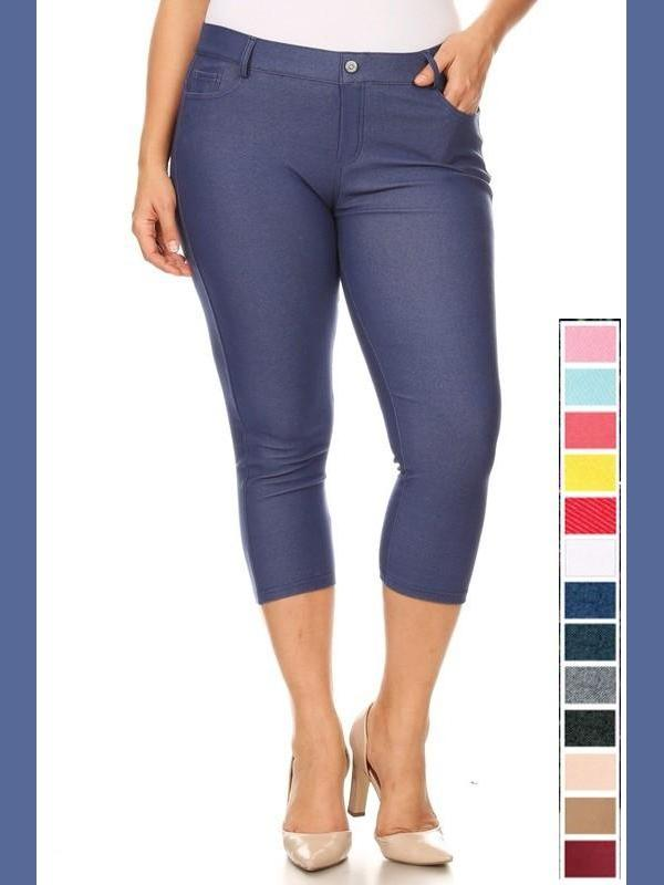 KLB Classic Capri Jeggings - Denim-Bottoms-Kasey Leigh Boutique