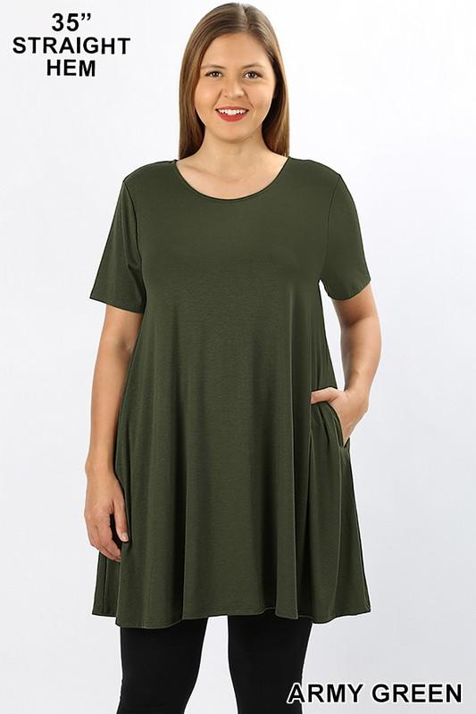 KLB Essential Swing Tunic - Army Green - Kasey Leigh Boutique