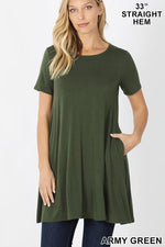 KLB Essential Swing Tunic - Army Green-Tops/Tunics-Kasey Leigh Boutique