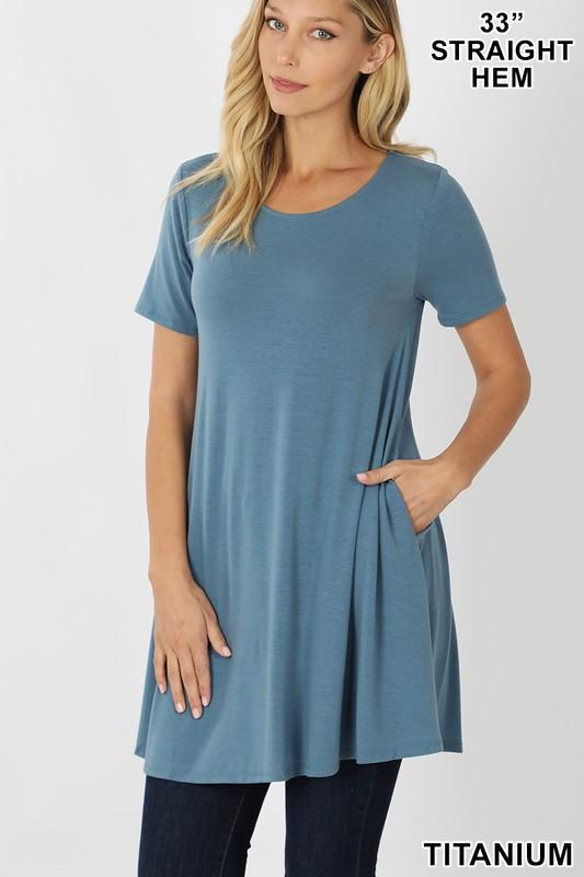 KLB Essential Swing Tunic - Titanium Tops/Tunics - Kasey Leigh Boutique