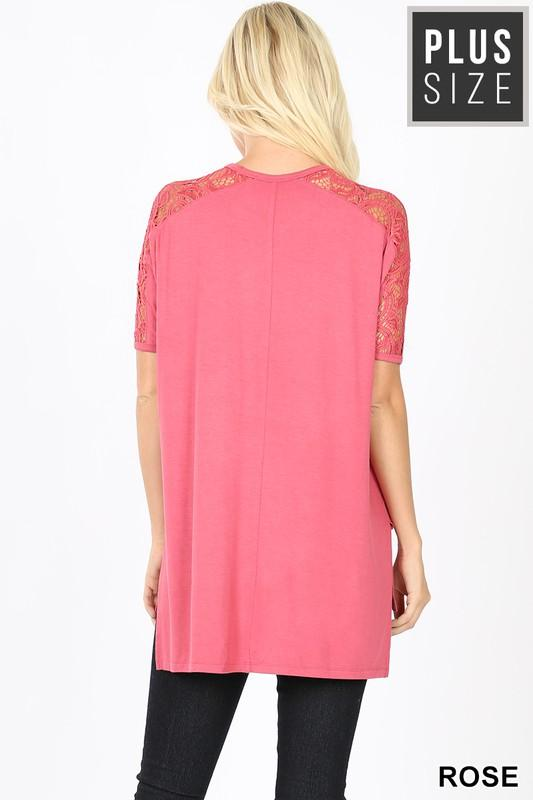 Lacey Sleeve Top - Rose-Tops/Tunics-Kasey Leigh Boutique