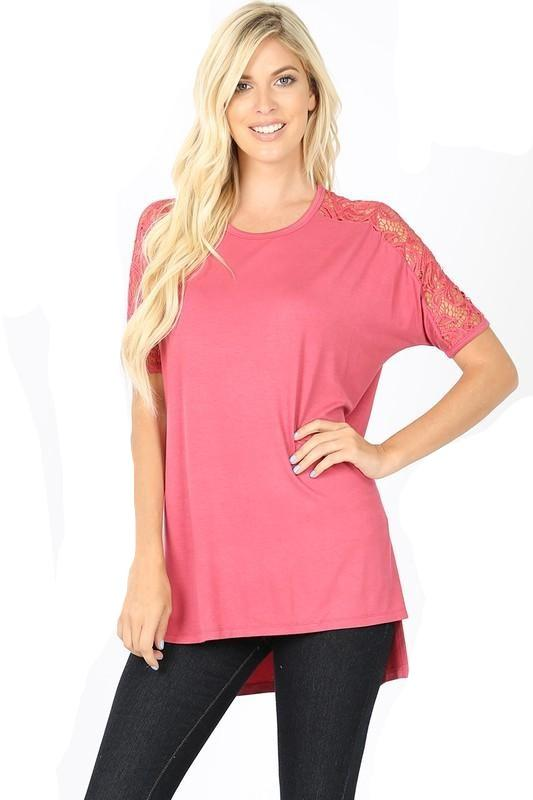 Lacey Sleeve Top - Rose