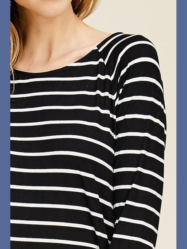Long Sleeve Striped Raglan - Black/Ivory-Tops/Tunics-Kasey Leigh Boutique