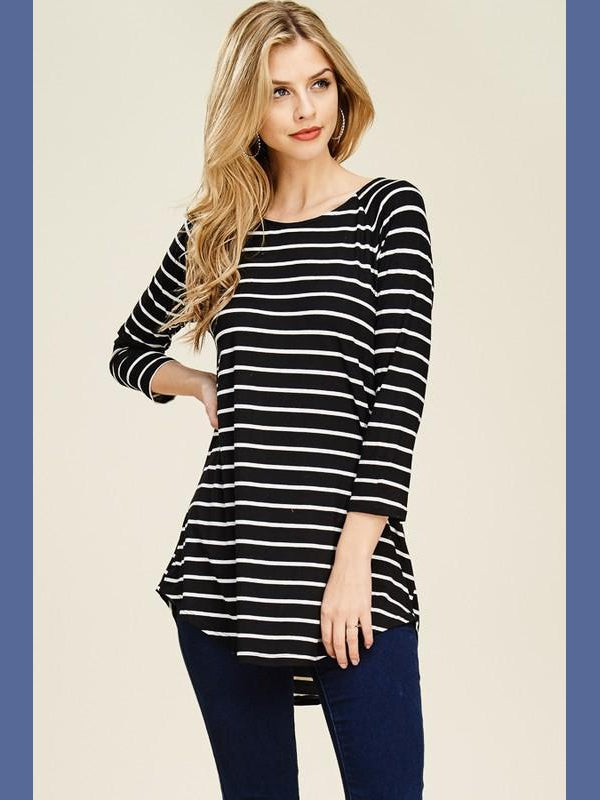 Long Sleeve Striped Raglan - Black/Ivory