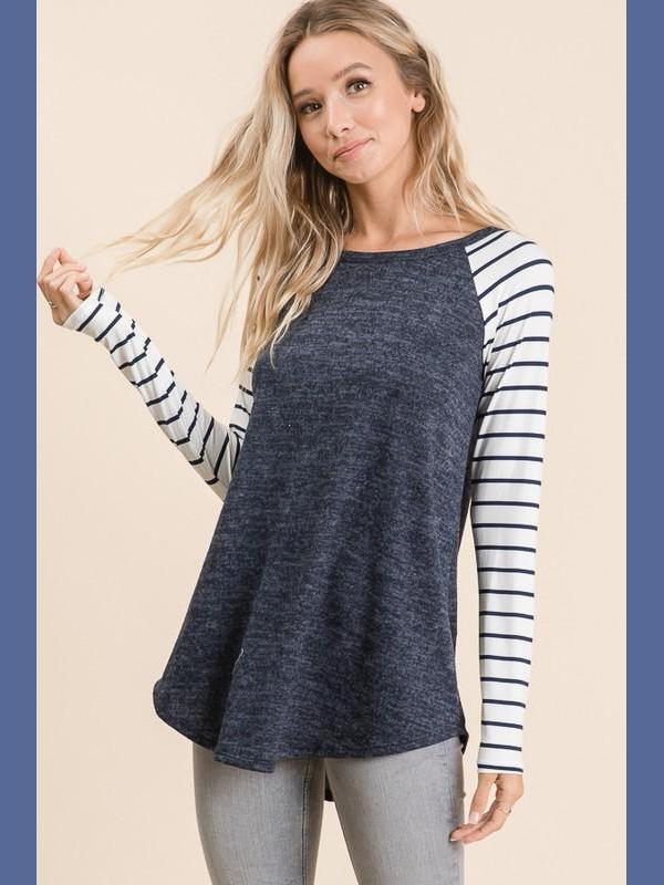 My Favorite Raglan - Navy - Kasey Leigh Boutique