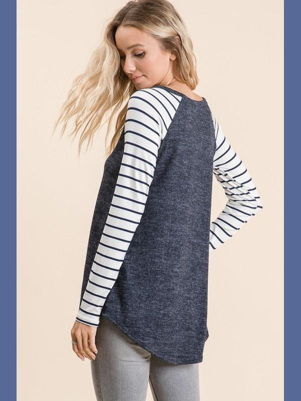 My Favorite Raglan - Navy-Tops/Tunics-Kasey Leigh Boutique
