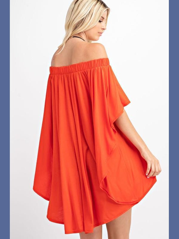 Off the Shoulder Draped Top in Spicy Orange-Tops/Tunics-Kasey Leigh Boutique