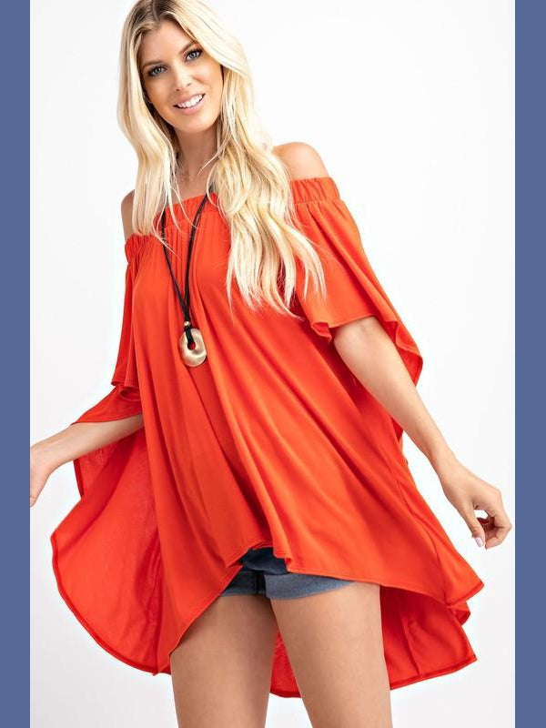 Off the Shoulder Draped Top in Spicy Orange