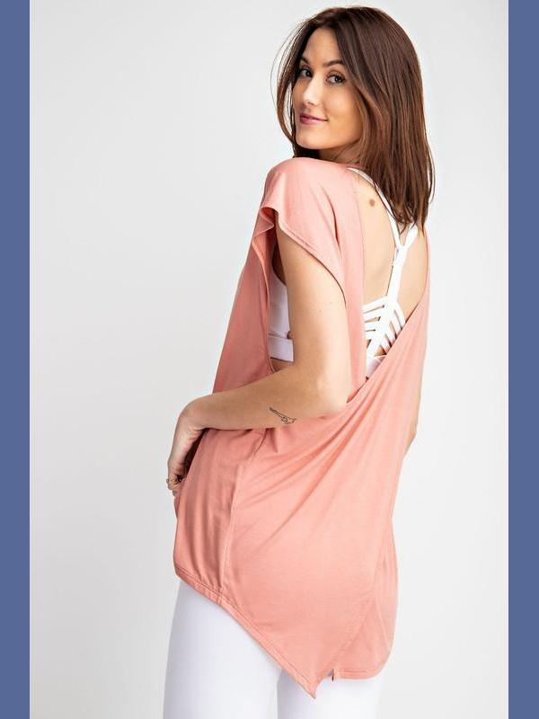 Open Back Yoga Top - Apricot