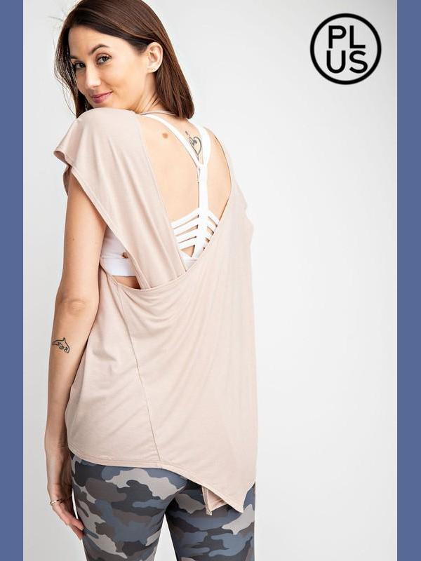 Open Back Yoga Top - Taupe-Athletic Wear-Kasey Leigh Boutique