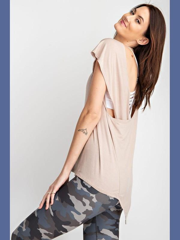 Open Back Yoga Top - Taupe